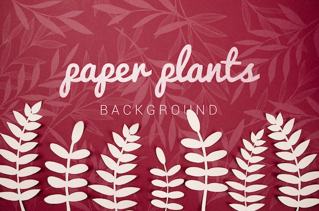 Paper plants background with fern leaves
