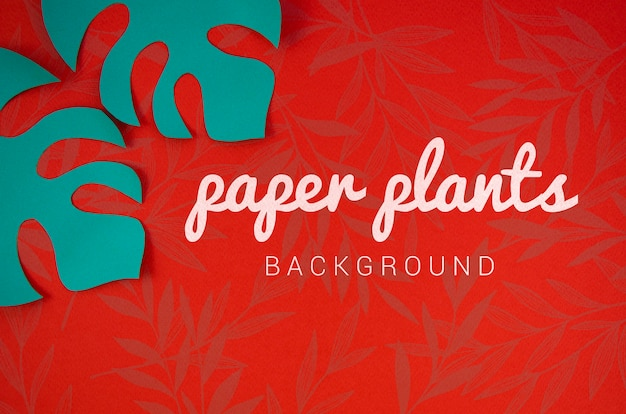 Paper plants background with monstera blue leaves
