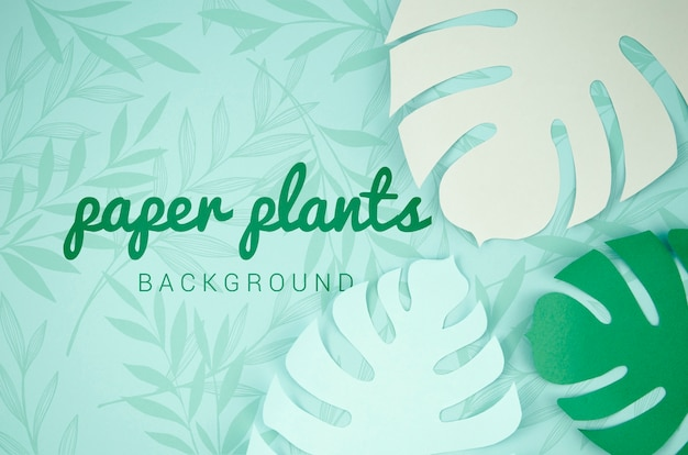Paper plants background with monstera leaves