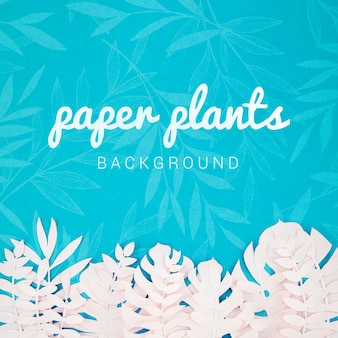 Paper plants background with tropical leaves