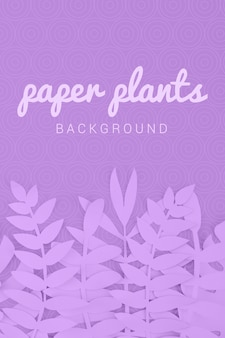 Paper plants monochrome violet background