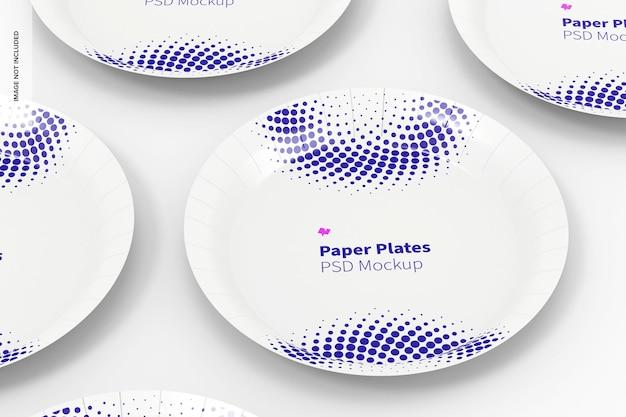 Mockup di set di piatti di carta