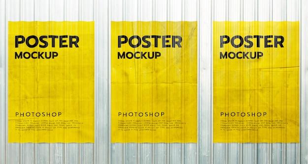 Paper poster grunge mockup on metal sheet wall
