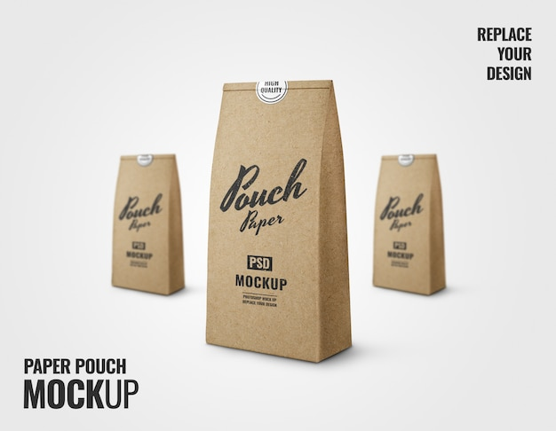 Paper pouch advertising mockup