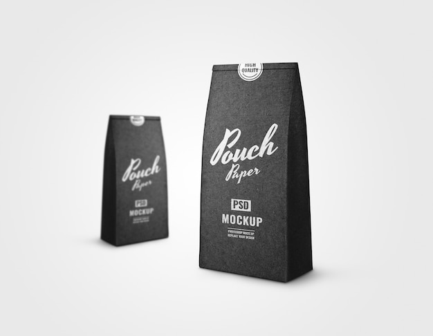 Paper pouch luxury mockup
