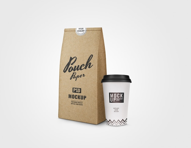 Paper pouch and paper cup mockup