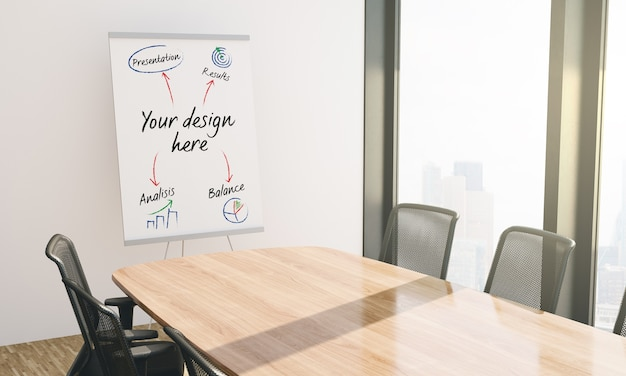 Paper presentation business board mockup in conference room