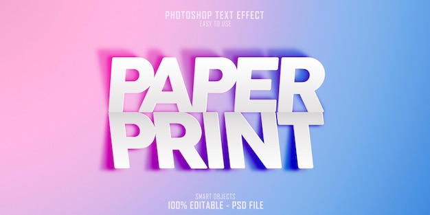 Paper print 3d text style effect template