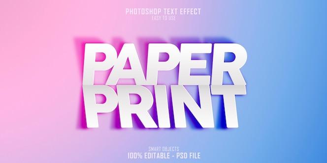 Modello di effetto di stile di testo di stampa di carta 3d