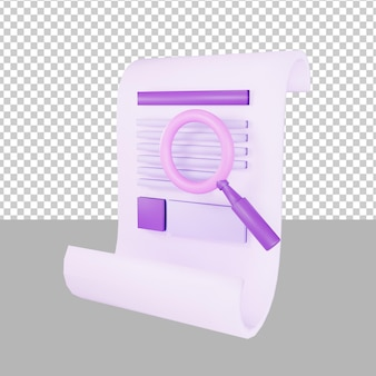 Paper search 3d illustration business