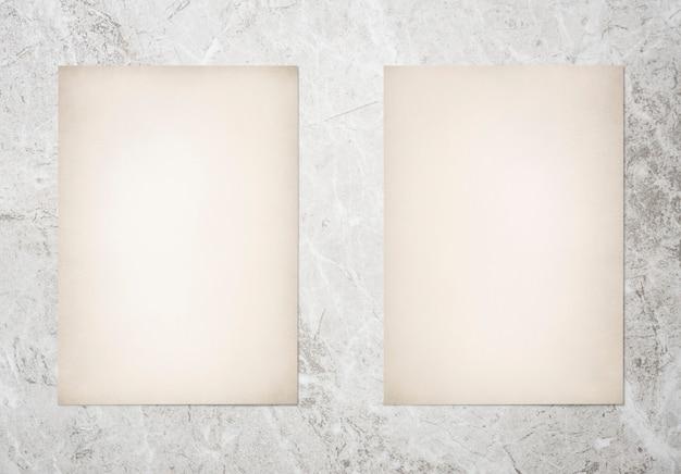Paper set mockup on marble background