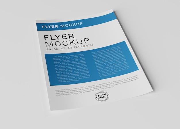 Paper sheet flyer on white surface mockup