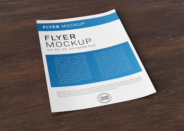 Paper sheet flyer on wooden surface mockup