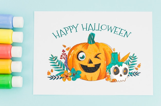 Paper sheet with happy halloween concept