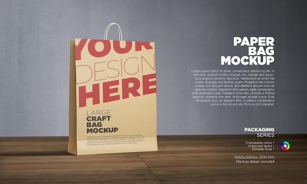 Paper shopping bag mockup in 3d rendering