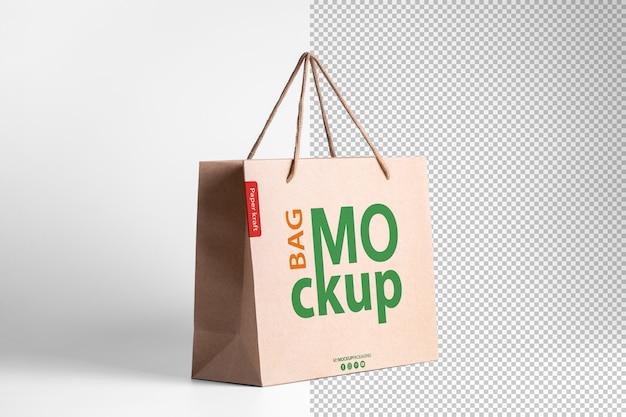 투시도에 로고가있는 종이 쇼핑백 모형 포장 템플릿