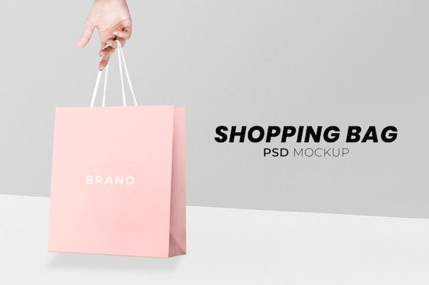 Psd макет бумажной сумки для покупок в минималистском стиле