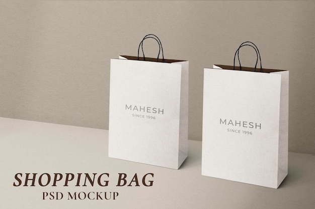 Paper shopping bag mockup psd in minimal style