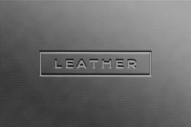 Paper silver logo mockup on leather