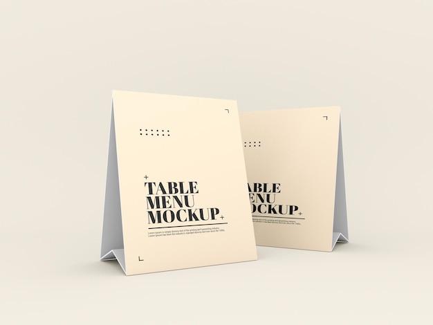종이 테이블 텐트 메뉴 목업 프리미엄 PSD 파일