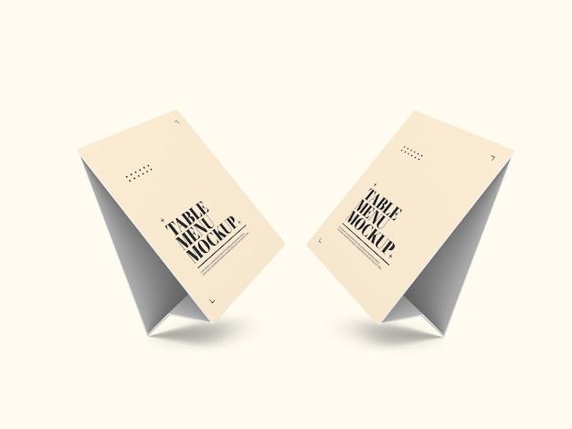종이 테이블 텐트 메뉴 목업