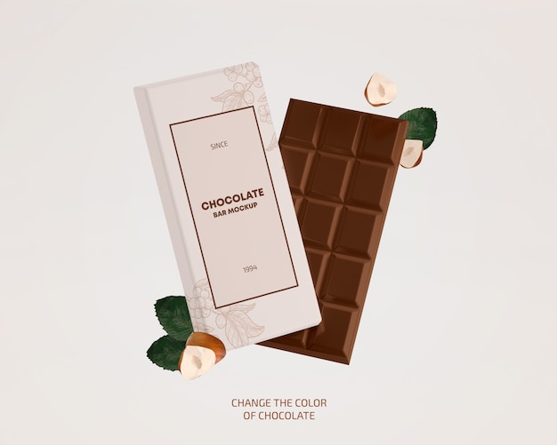 Paper wrapping chocolate bar mockup