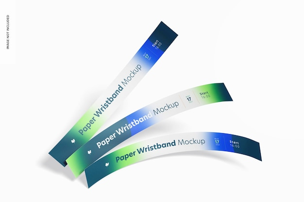 Paper wristband mockup, top view