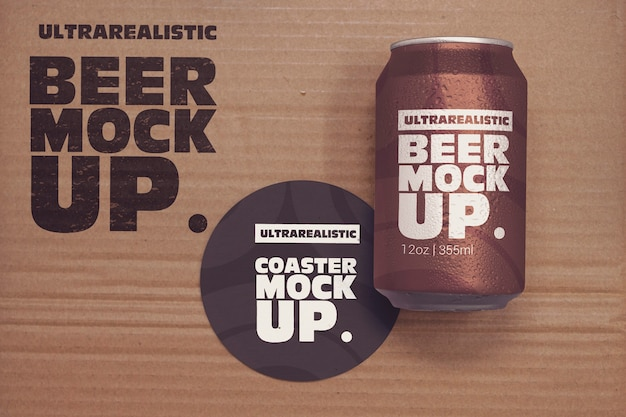 Paperboard can & coaster mockup
