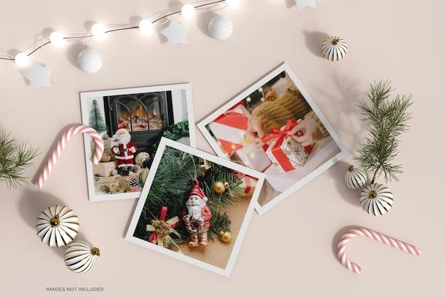 Рамка для фотографий из бумаги с рождественским декором и макетом из соснового листа