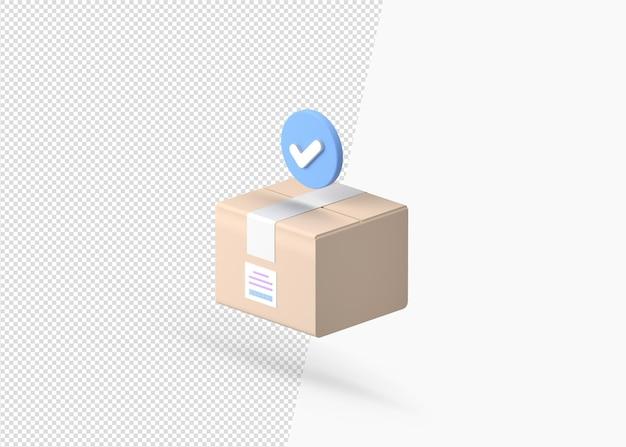 3dレンダリングのチェックマーク通知サイン付き小包ボックス