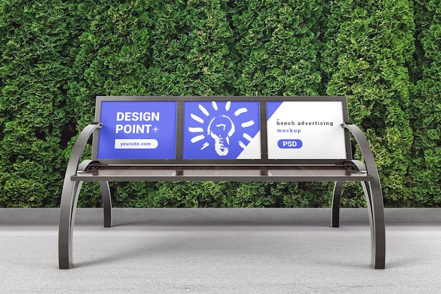 Park bench with advertising space mockup
