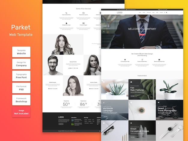 Веб-шаблон для бизнеса и агентства parket