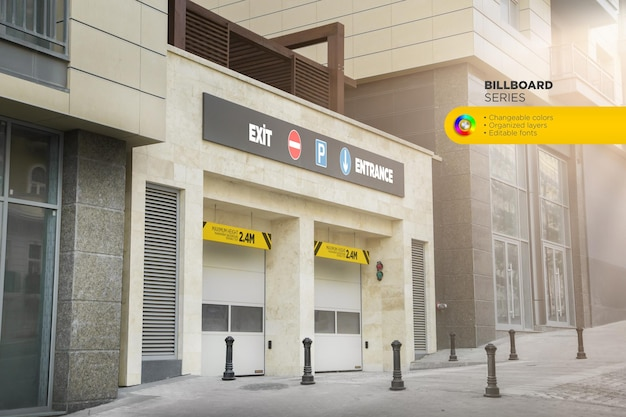 Parking area billboard mockup design rendering