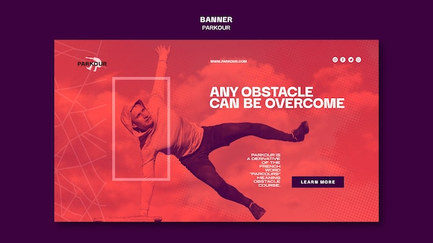 Parkour ad banner template Free Psd