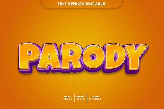 Пародия 3d-текстовый эффект редактируемый