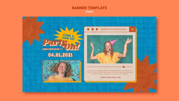 Party on banner template with photo