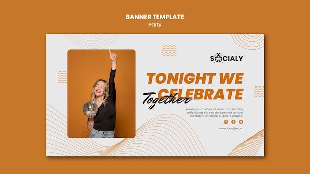 Party concept horizontal banner template