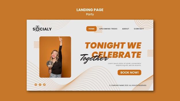 Party concept landing page design