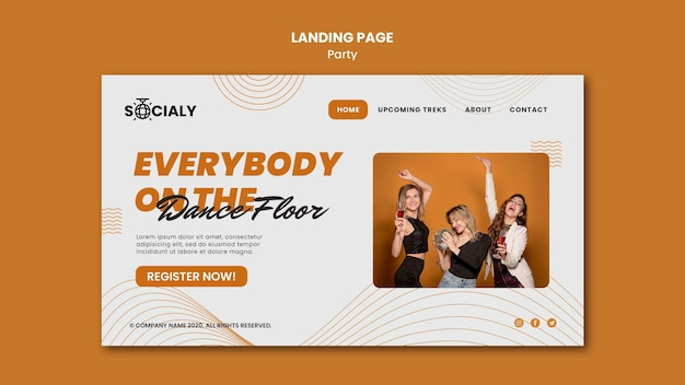 Party concept landing page template