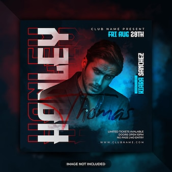 Party flyer or dj poster social media post banner