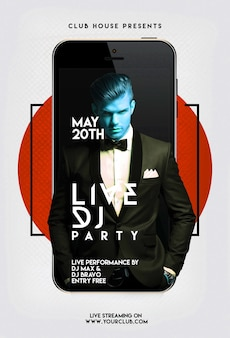 Party flyer with phone