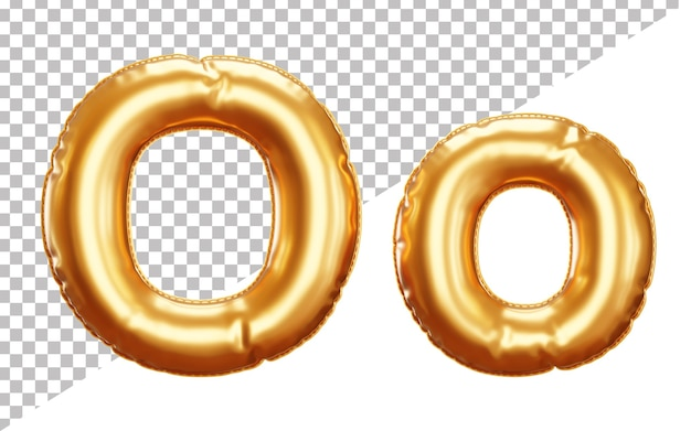 Party foil balloon letter o alphabet in 3d rendering, upper case and lower case