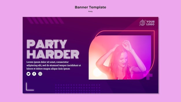 Party harder banner template