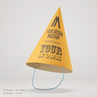 Party hat mockup isolated