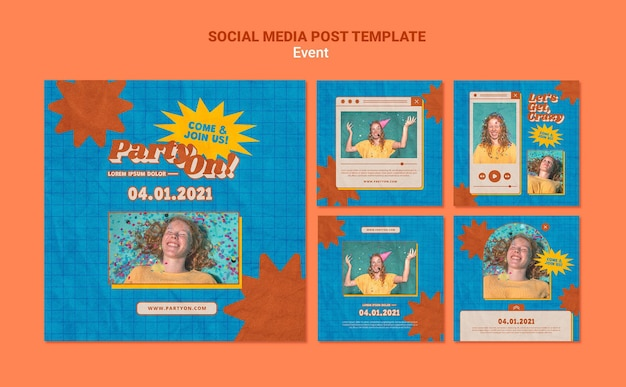 Party on instagram post templates with photo