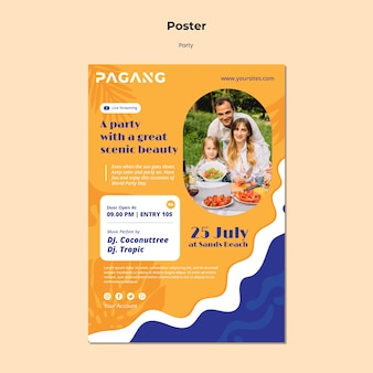 Party live streaming poster template