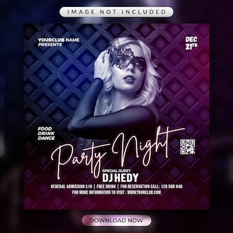Party night flyer or social media banner template