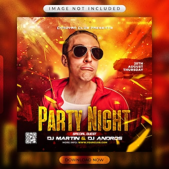 Party night flyer or social media promotional template