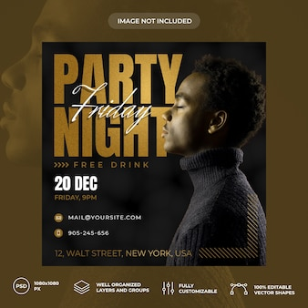Party night social media banner template