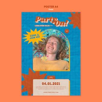 写真付きの印刷テンプレートのパーティー